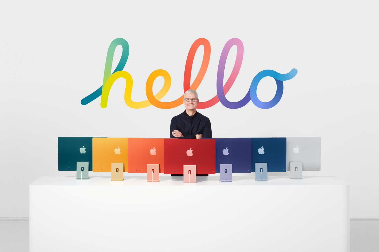 Tim Cook, CEO of Apple Inc, stands with the all-new iMac line-up in this still image from the keynote video of a special event at Apple Park in Cupertino, California on Tuesday.Apple Inc via REUTERS